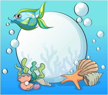 Illustration of a fish and other sea creatures near the giant pearl Vector