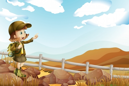 Illustration of a female explorer at the rocky area Ilustrace
