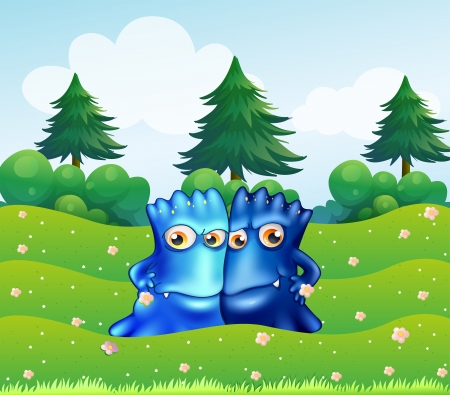 triangular eyes: Illustration of the two blue monsters at the hilltop with pine trees Illustration
