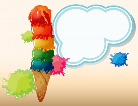 Illustration of an empty cloud template beside the giant icecream