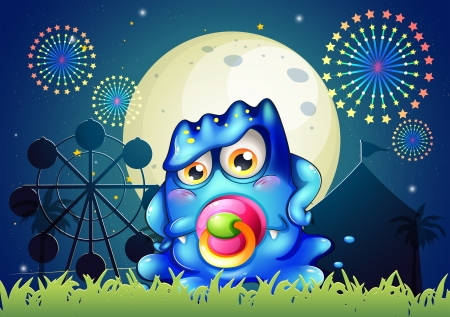 Illustration of a carnival with a baby blue monster with a pacifier Vector