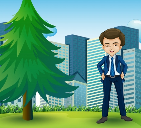 Illustration of a happy businessman standing near the pine tree Stock Vector - 22576216