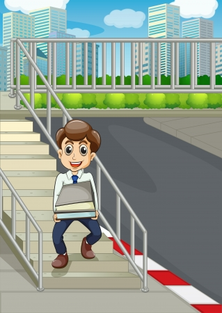 establishments: Illustration of a smiling man at the stairs bringing a lot of documents