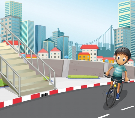 establishments: Illustration of a boy biking at the road