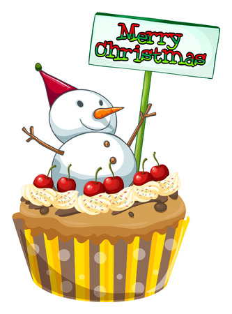 Illustration of a cupcake with a christmas sign and a snowman on a white background Vector