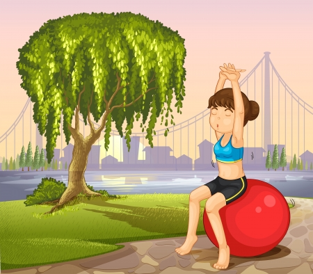 yoga outside: Illustration of a girl exercising with a bouncing ball near the giant tree
