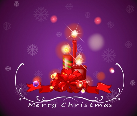lighted: Illustration of a purple christmas card with red lighted candles