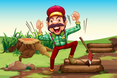 timber cutting: Illustration of a very happy lumberjack near the stump Illustration
