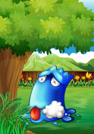 poisoned: Illustration of a poisoned monster under the tree Illustration