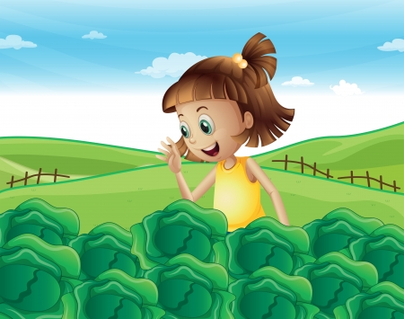 Illustration of a young girl watching the growing vegetables at the farm
