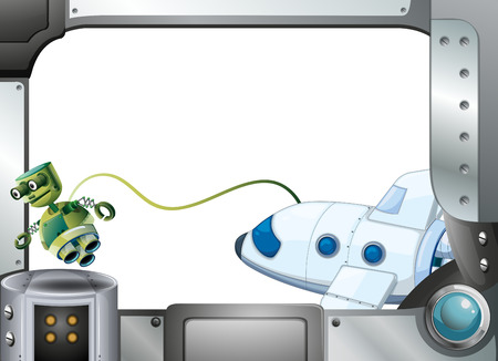 programmed: Illustration of a metalframe with a robot and an airplane