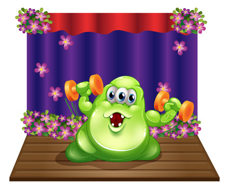 centerstage: Illustration of a stage with a green monster exercising in the center on a white background
