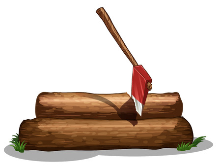 timber cutting: Illustration of an axe and the two big woods on a white background