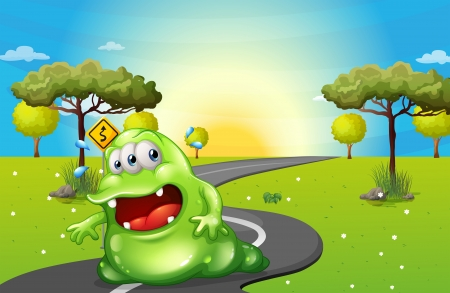 tiresome: Illustration of a green fat monster travelling Illustration