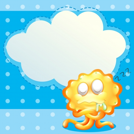salivating: Illustration of a sleeping orange monster in front of the empty cloud template
