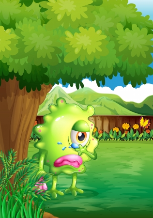teary: Illustration of a crying monster under the tree