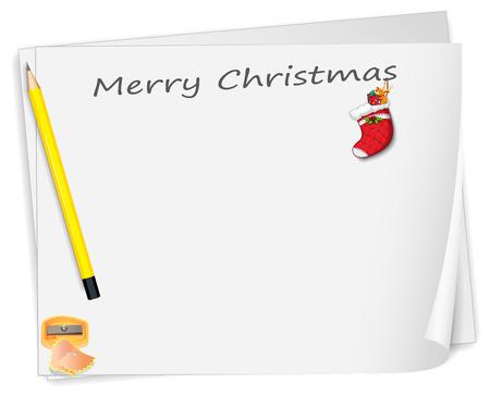 sacapuntas: Ilustración de una tarjeta de Navidad con un lápiz, un sacapuntas y un calcetín en un fondo blanco