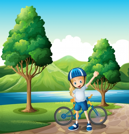 Illustration of a young female biker standing near the river Stock Vector - 22576142