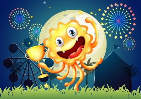 Illustration of a happy monster at the carnival holding a trophy Vector