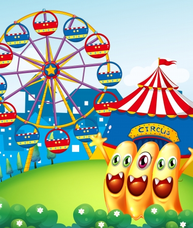 hilltop: Illustration of the three playful monster at the hilltop with a carnival