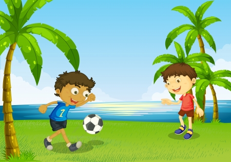 footwork: Illustration of the boys playing football at the riverbank