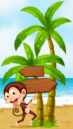Illustration of a beach with a playful monkey near the palm trees Vector