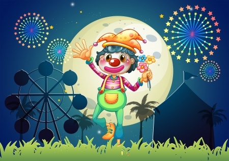 Illustration of a clown at the amusement park Vector