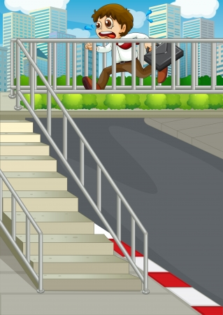 Illustration of a tardy businessman at the hiway Vector