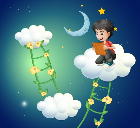 Illustration of a boy above the cloud watching a picture Illustration