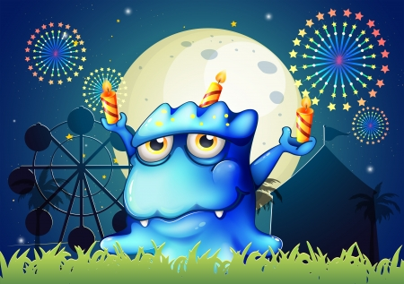 Illustration of a carnival with a monster with three candles Vector