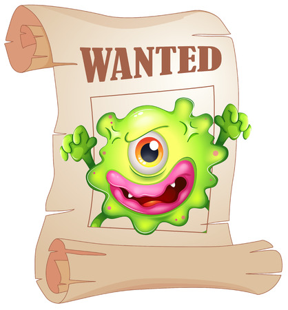 Illustration of a wanted one-eyed monster in a poster on a white background Vector