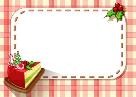 Illustration of an empty card with a slice of a cake and a poinsettia plant