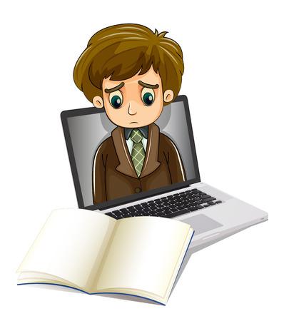 empresario triste: Ilustraci�n de un hombre de negocios triste dentro de un ordenador port�til mirando el cuaderno en blanco sobre un fondo blanco