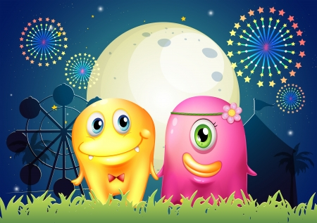 love explode: Illustration of a carnival with two monster couple