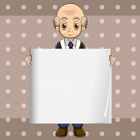 oldman: Illustration of a bald oldman holding an empty signage