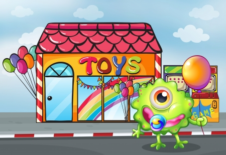 toy shop: Illustration of a monster in front of the toy shop Illustration