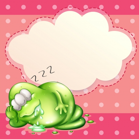 salivating: Illustration of a monster sleeping and salivating with an empty cloud template at the back