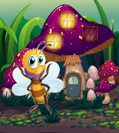 Illustration of a mushroom house with a dragonfly nearby Stock Vector - 22576088