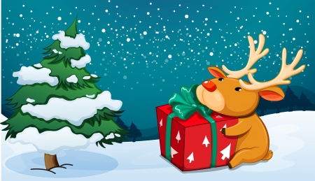 Illustration of a reindeer holding a red gift near the pine tree Vector