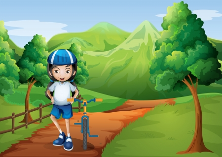 hilltop: Illustration of a girl at the pathway going to the hilltop