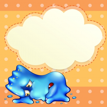 Illustration of a tired blue monster below the empty cloud template Vector