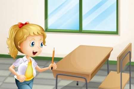 Illustration of a girl holding a pencil inside the classroom Stock Vector - 22576102