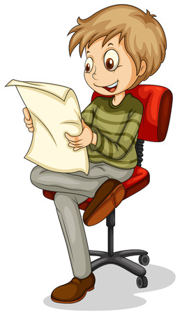 Illustration of a young man reading a newspaper on a white background Illustration