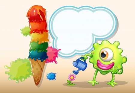 Illustration of a giant icecream beside the monster watering the plant Vector