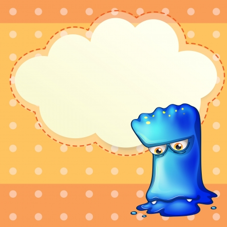 Illustration of a sad monster with an empty cloud template Vector