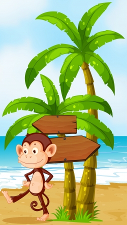 Illustration of a monkey dancing at the beach with arrowboards Vector
