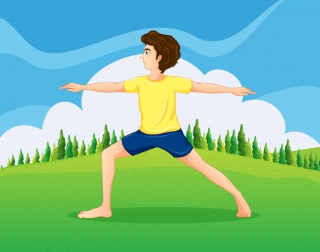 Illustration of a boy with a yellow t-shirt doing yoga near the pine trees Stock Vector - 22576068