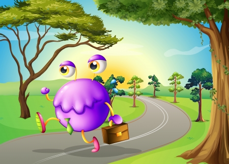 morning walk: Illustration of a monster travelling with a bag