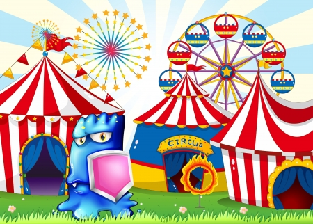 Illustration of a carnival with a blue monster holding a shield Stock Vector - 22576027