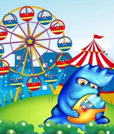 Illustration of a carnival with a mother monster carrying her baby Vector